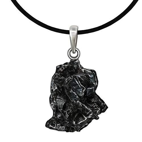 CLEVER SCHMUCK Set Anhänger Meteorit ECHTE STERNSCHNUPPE mit 925er Silber-Schlaufe und Zertifikat inklusive Kautschuckband schwarz 45 cm
