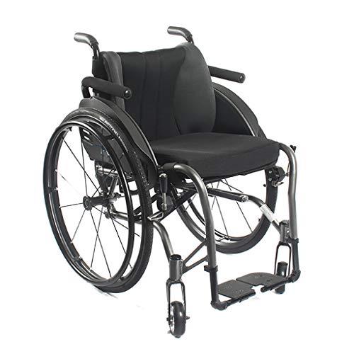 HSRG Sport en Vrije tijd Rolstoel, Vouwen Draagbare Aluminium Trolley Armrest Verwijderbare Handleiding Rolstoel voor gehandicapten Ouderen Rijden Medische, 100Kg Lading lagers