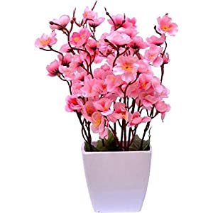Yash Enterprises Artificial Pink Cherry Blossom Flower Pot(30 cm) (Pink)