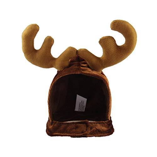 Amosfun Disfraz de Reno Lindo de Mascota de Halloween Sombrero Disfraces de astas de Reno de Navidad para Gato y Perro pequeño (tamaño Libre)