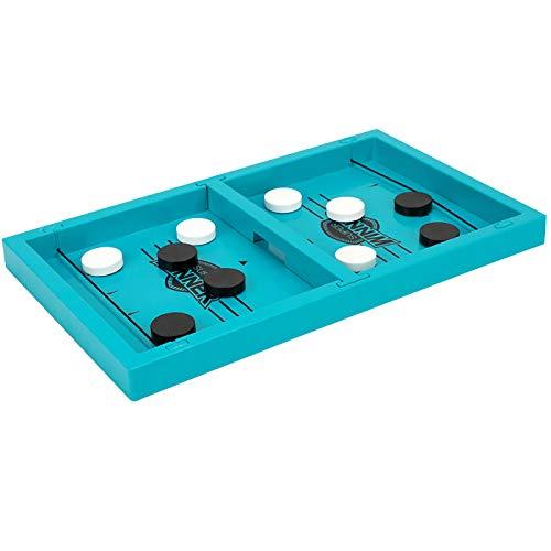 UOWEG Hockey Brettspiel, Holz Schnell Sling Puck Match-Spiel, Bouncing Brettspiel, 2 in1 Interaktion Tischhockey Katapult brettspiel, Portable Schachbrett-Set Partyspiele Tisch-Desktop-Spiel