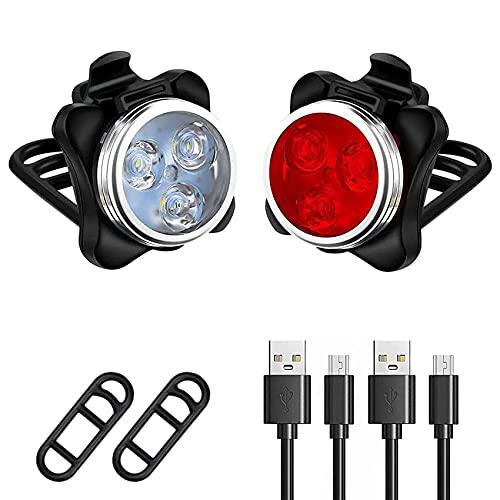Rpanle Luci Bici LED, 2 Pezzi Set Luci per Biciclette, Impermeabile 4 modalità di Luminosità, Luce Anteriore e Fanale Posteriore Ricaricabile USB, per Bici Strada e Montagna