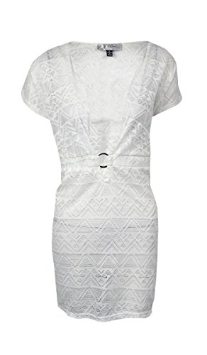 J Valdi Floral Tribal Pattern Bathing Suit Cover Up Dress (Medium, White)