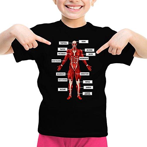 Okiwoki T-Shirt Enfant Fille Noir L'attaque des Titans parodique Le Titan Colossal : Titanatomie colossale. : (Parodie L'attaque des Titans)