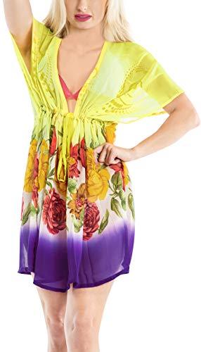 LA LEELA encubrimientos Kimono para Las Mujeres del Traje de baño Amarillo_Y431 ES TAMAÑO: 42 (L) - 50 (2XL)