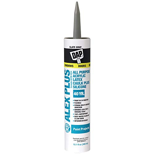 Dap 18110 Acrylic Latex Caulk With Silicone, 10.1-Ounce, Slate Gray