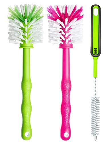 Deine Bürste Reinigungsbürste 3er Pack – Spülbürste für Mixbehälter und Messer - Ideales Zubehör zum Reinigen von Küchenmaschinen, Standmixer u.v.m (1x Grün/ 1x Pink/ 1x Grün)