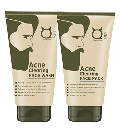 Qraa Men Clearing Face Wash, 100 g and Acne Clearing Face Pack for Men, 100 g Prevents and Clears Pimples