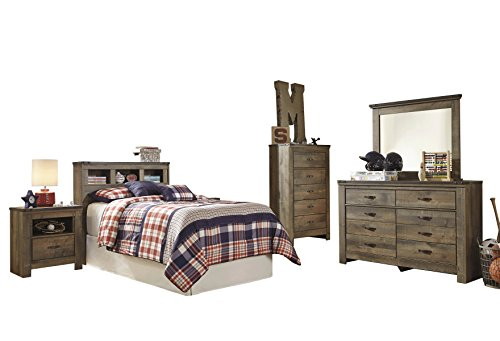 Ashley Trinell 5PC Bedroom Set Twin Bookcase Headboard One Nightstand Dresser Mirror Chest in Brown