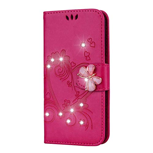 iPhone 6 Plus/iPhone 6S Plus Hülle, SONWO Premium Glitzer Strass Flip PU Leder Handyhülle mit Diamant Magnetverschluss und Ständer Funktion für Apple iPhone 6 Plus/iPhone 6S Plus, Rot