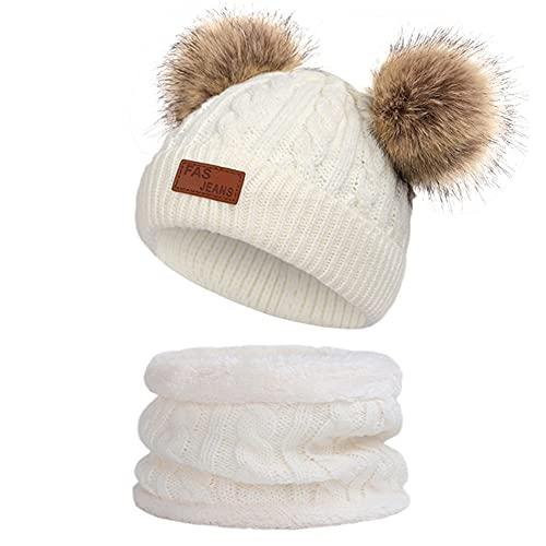 Conjunto de Bufanda y Gorro de Punto Unisex Niños Niñas Sombrero de Invierno Bufanda para Niños Gorro de Punto para Bebés y Niños Pequeños Gorro de Invierno con Color Puro Sombrero (Blanco)