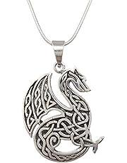 TreasureBay Keltische drakenhanger van 925 sterling zilver op ketting, heren, dameshanger