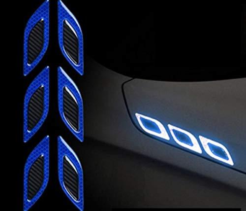 TRUE LINE Automotive Carbon Fiber Reflective Door Fender Flare Marker Trim Molding 6PC (Outer Blue)