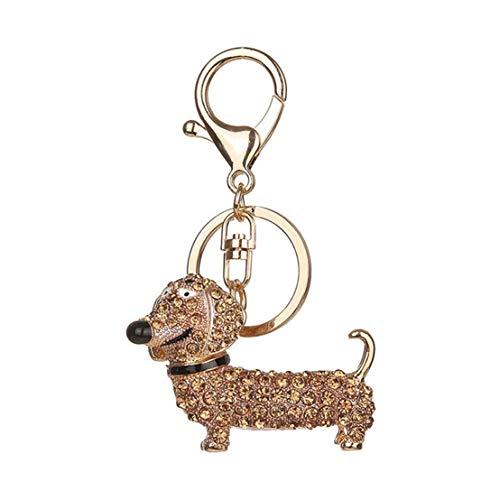 Kissherely Glänzend Strass Dackel Form Schlüsselanhänger Niedlichen Hund Tasche Auto Anhänger Dekoration Schlüsselanhänger (Champagner)