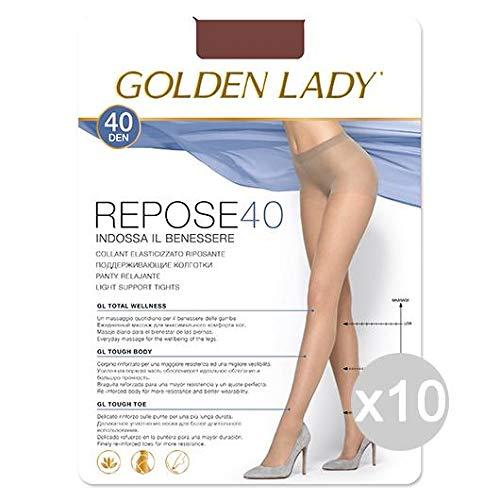 Set 10 GOLDEN LADY Repose 40 Daino Xl Calze Collant Da Donna Abbigliamento E Accessori