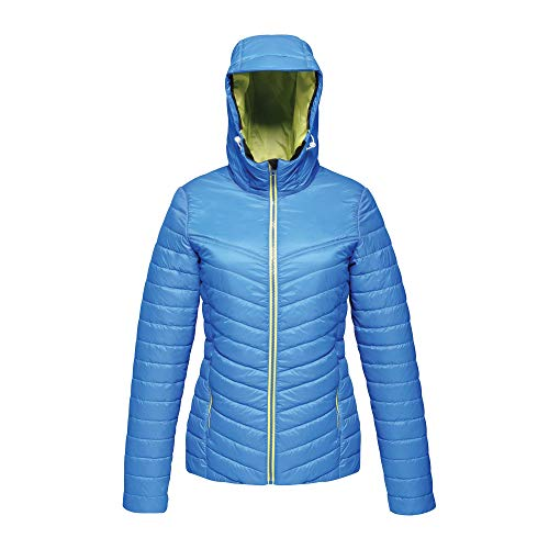 Regatta Damen Professional Womens Acadia II Water Repellent Warmloft Down-Touch Compressible Hooded Jacket Jacke, Oxford Blue (Neon Spring), Size: 14
