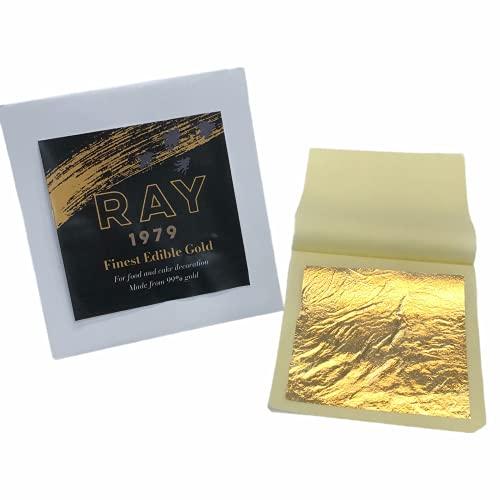 Edible Gold Leaf Sheets 3.6'x 3.6' (10 Sheets) 24k Gold Leaf for Food, Cake Decoration, Spa, Skin Care, Craft