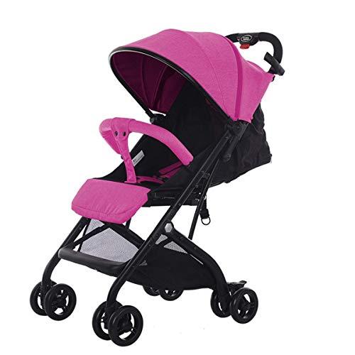 Los cochecitos para bebés para niñas, el cochecito de bebé multifuncional se puede sentarse, reclinado y ajustable el cochecito portátil compacto 0-3 años (Color : Rose powder)