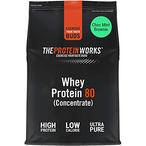 THE PROTEIN WORKS Whey Protein 80 (Concentrate) Powder | 82 Percent Protein | Low Sugar, High Protein Shake | Choc Mint Brownie | 1 kg