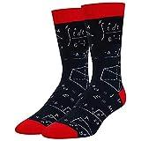 GROOMY Calcetines, Calcetines Deportivos con Estampado de fórmula matemática Geometry Abstract Math Funny Tube Medias-Negro Rojo
