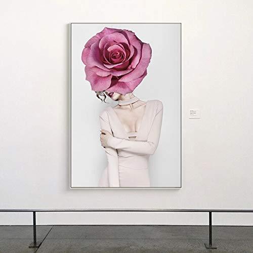 Impresión en Lienzo HD Mural Art Poster Posters e Impresiones Retrato Lienzo Pintura Flor Rosa Mujeres Imágenes Arte de la Pared para la decoración de la Sala de Estar Sin Marco