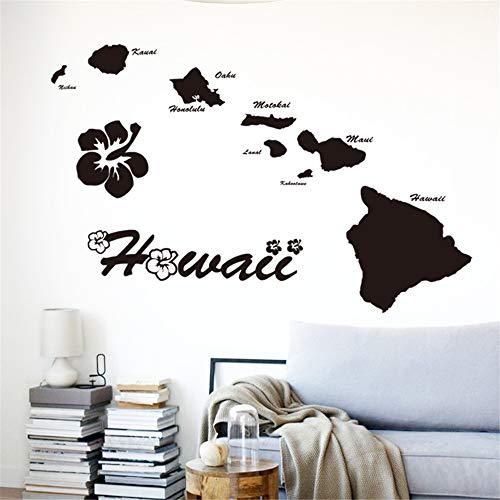 Wandtattoo Schlafzimmer Hawaii-Inseln Haus Dekor Name Zitat Karte Abziehbilder im Wohnzimmer Schlafzimmer