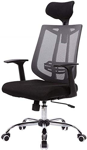 GAOLILI Bürostuhl mit Armlehne Swivel Bürostuhl Computerstuhl Studium Bürostuhl Hohe Rücken Atmungsaktive Mesh Verstellbare Kopfstütze Lounge Chair (Color : Grey)