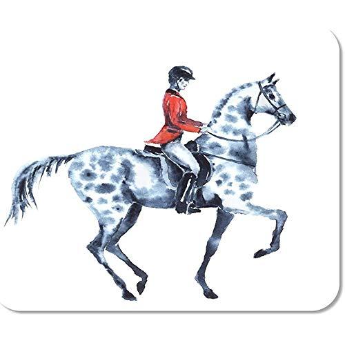 Mausemat Aquarell Reiter Und Apfel Graues Pferd Auf Weißem Reiter In Roter Jacke Hengst Mausmatte 25 X 30 Cm Mousepad Mousepad Game Office Gedruckte Rutschfeste Arbeit Bunte Sonde