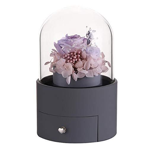 ZCAYIN Caja de Flores eterna giratoria Caja de Regalo de cajón de Alta Gama del día de San Valentín, con 20 focos LED, Las Rosas representan el Amor Regalos románticos para niñas (Color : Gray)