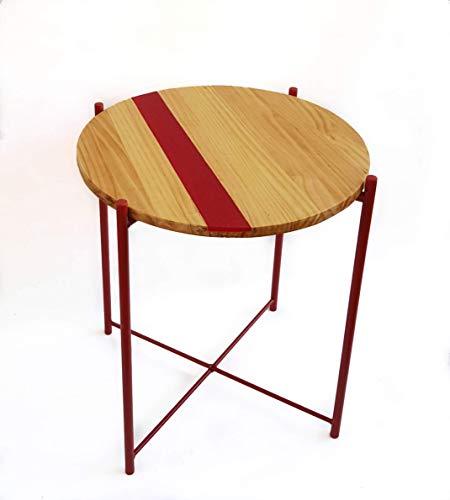 Mesa auxiliar redonda, madera de pino con resina roja, patas metal roja.