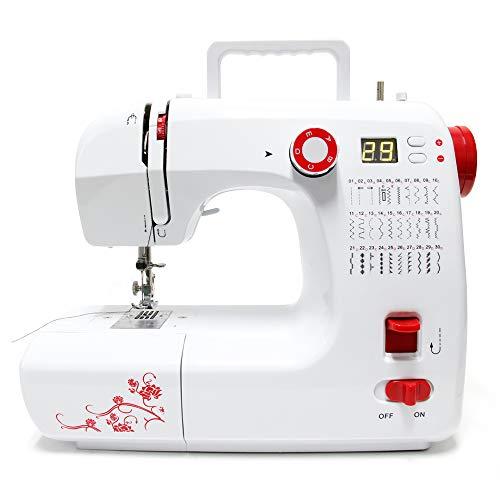 Signstek - Mini máquina de coser 30 programas de costura con pedal + luz LED de costura electrodomésticos programas de puntada para principiantes
