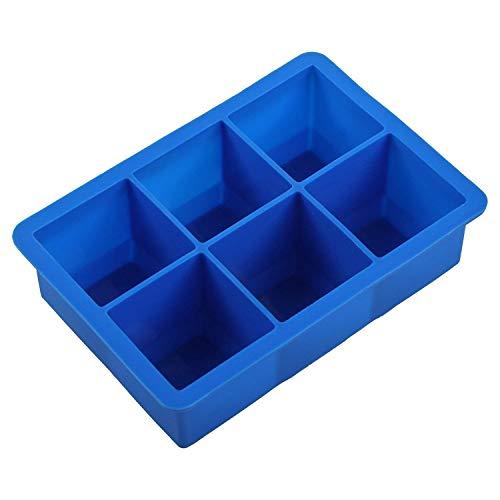 HelpCuisine Bac à Glaçons en silicone sans BPA et approuvé par la FDA, souple et permet de démouler facilement les glaçons, Plaque à Glaçons (6 Cubes XXL/Bleu)