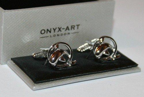 Onyx Art Fantaisie Homme Boutons de Manchette – Dauphin en Anneau Motif