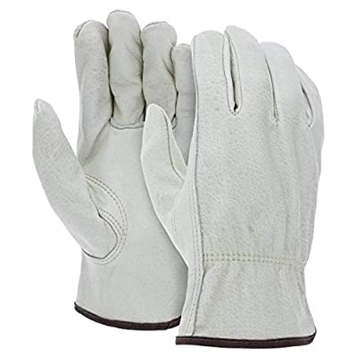 12 Pairs Heavy Duty Durable Cowhide Leather Work Gloves I Driver Gloves for Truck Driving, Warehouse, Gardening, Farming