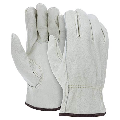 12 Pairs Large Heavy Duty Durable Cowhide Leather Work Gloves I Driver Gloves for Truck Driving, Warehouse, Gardening, Farming