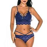 Lenceria Sexy Mujer Correas Sujetador y Panty Liga Conjunto Ropa Interior Babydoll Atractiva De Muselina Ropa de Dormir de TentacióN Pijamas (Azul, XXL)