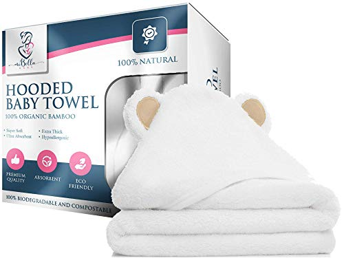 100% Bamboo Hooded Baby Towel By Mi Bella Baby- Natural, Hypoallergenic, Soft, Absorbent, Durable- Large White Bath Towels With Bear Ears For Newborn Essentials and Toddlers- Gender Neutral Baby Gifts
