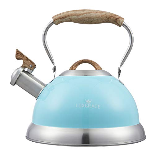 s-p Teapot Whistling Tea Kettle with Handle Loud Whistle,Food Grade Stainless Steel Tea Pot for Stovetops Water Kettle(Blue), 2.85 QUART