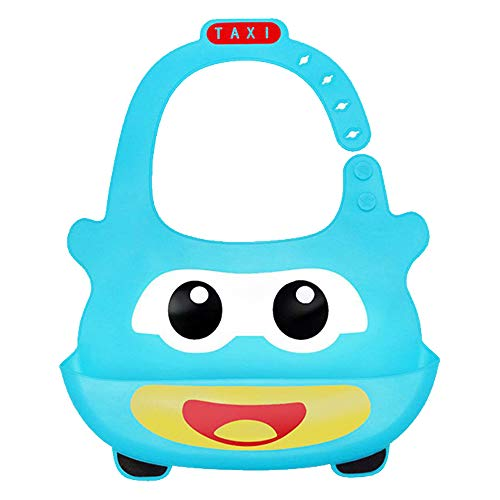 Motishops Waterproof Cars Taxi BPA Free Silicone Baby & Toddlers bib, Soft Reusable Bibs for Girls and Boys, Ages 6-36 Months, (1-bib/1-spoon)