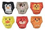 Abenteuer 6er Pack Wasserdicht Baby Lernwindel Trainerhosen Unterwäsche Windeln Windelhose zum Toilettentraining Töpfchentraining (Animals, 90)