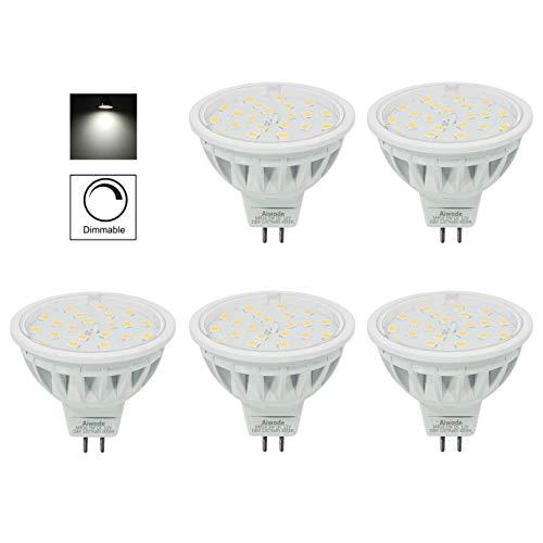 Aiwode 5er Pack Dimmbar DC12V MR16 LED Lampe Gu5.3 Scheinwerfer,Ersetzt 50W Naturweiß 4000K 600LM RA85 120°Abstrahlwinkel,kompatibel mit DC12V LED Treiber und 12V LED Dimmer.