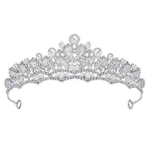 frcolor brillantes novia Corona, Cristal Perla Boda Tiara Corona frente boda diadema...