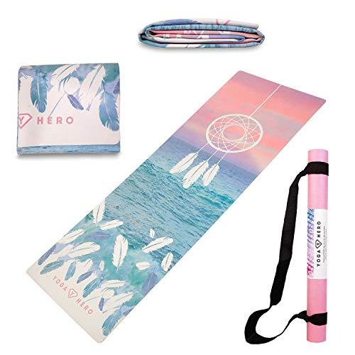 Yoga Hero Reisematte | Travel Yoga Mat | Handtuch, Faltbar, rutschfest, 3-in-1 | Natürlich und Umweltfreundlich | Gratis Tragegurt für Reisen (Dreamcatcher)