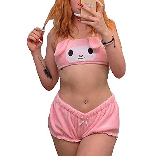 HONGEYO Conjunto de pijama para mujer, diseño Kawaii anime, Y2K, dibujos animados, traje de dormir de conejo, parte superior y pantalones cortos irritantes, Perro blanco B, XL