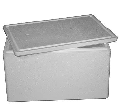 Thermobox, Styroporbox für Essen, Getränke & temperaturempfindliche Ware , Isolierbox aus Styropor mit Deckel , Maße: 48,2 x 48,2 x 38,2 cm , Wandstärke: 3,8 cm , Volumen: 49 L