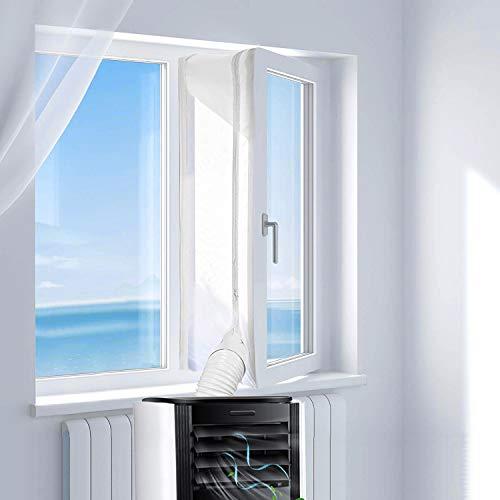 Omasi Fensterabdichtung für Mobile Klimageräte Klimaanlagen Wäschetrockner und Ablufttrockner, 400CM AirLock zum Anbringen an Fenster, Dachfenster Flügelfenster Keine Bohrlöcher erforderlich