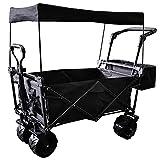HDZW - Carro de playa plegable resistente y plegable con toldo extraíble, ruedas de playa todo terreno, asa ajustable, carrito de jardín al aire libre de gran capacidad
