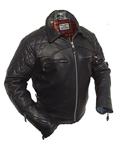 Noble House Sidewinder Motorradjacke Herren Lederjacke Biker Jacke schwarzes Pferdeleder echt Leder (3XL)