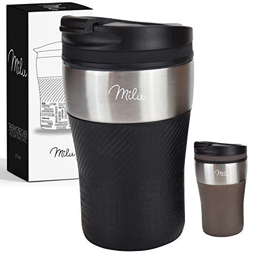 *Milu Thermobecher Isolierbecher Kaffeebecher to go – 210ml 100% Auslaufsicher – Trinkbecher aus Edelstahl – Autobecher doppelwand Isolierung – Thermo Becher – Travel Mug (Schwarz)*