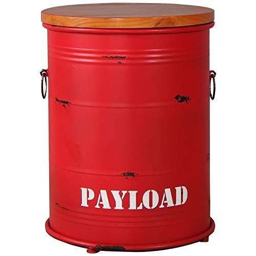 JQQJ opbergruimte bankkruk retro opslag Osmanen staafstoel barrel kruk ronde metalen barkruk barkruk klein voetbord 33x42cm rood 1